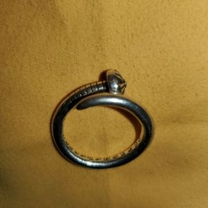 Chrome Hearts Curved Shaped Silver Nail Ring